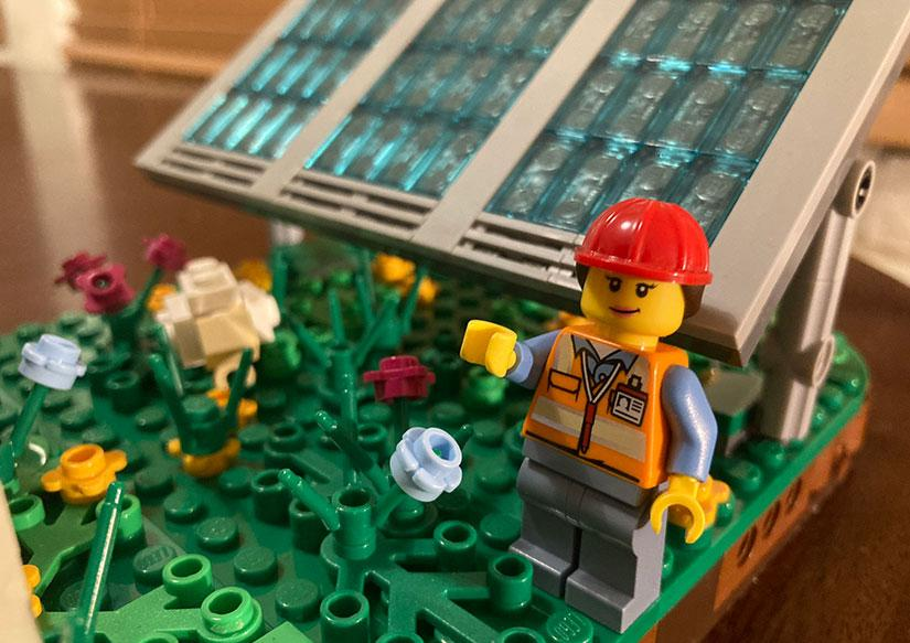 The LEGO® solar farm kit has 375 pieces, including an engineer/site manager. Images courtesy of Rob Davis