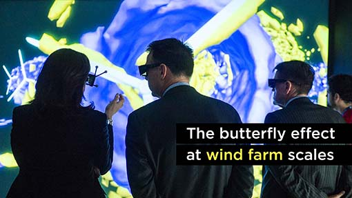 A photo of wind farm visualization at the ESIF.