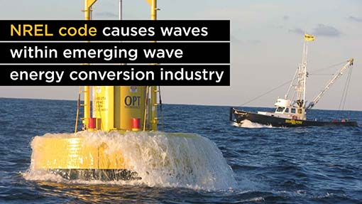A photo of a wave energy converter in the water.