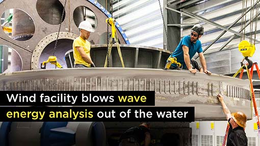 A photo of a wave energy test unit in the water.