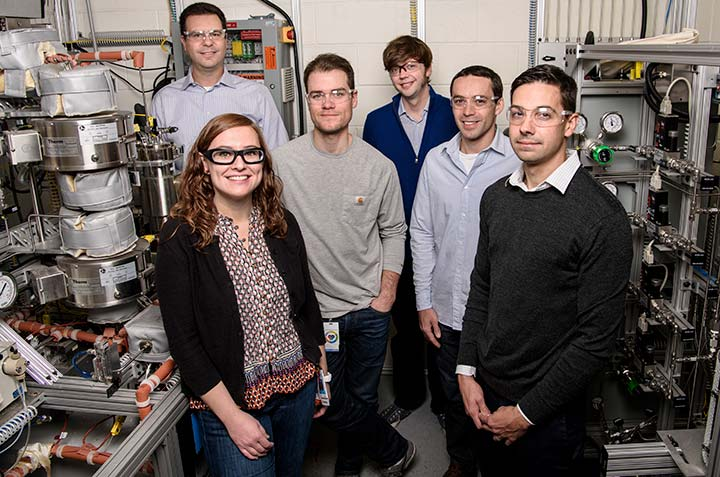 NREL bioenergy researchers in the lab, left to right: Adam Bratis, Violeta Sanchez i Nogue, Todd Eaton, Gregg Beckham, Vassili Vorotnikov and Erik Karp.