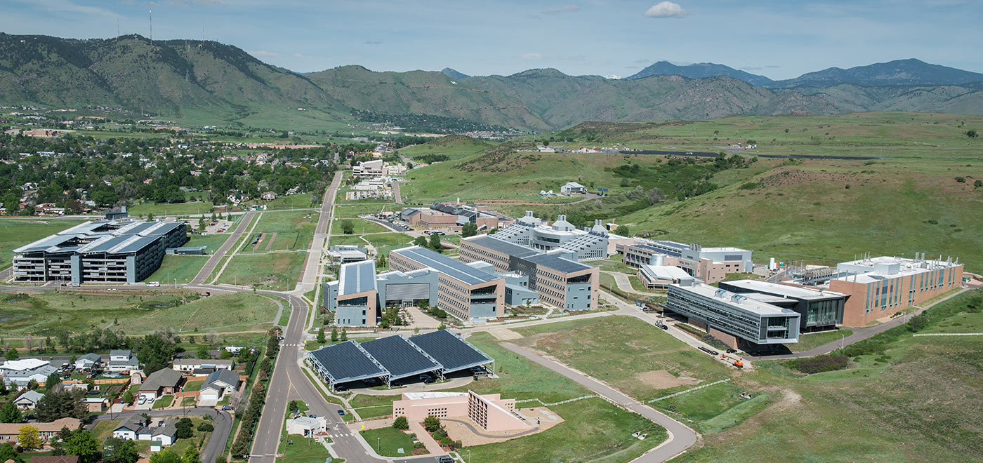 An aerial photograph of the National Renewable Energy Laboratory south table mountain campus.