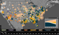 Screen capture of a dynamic map that is animated to display the transformation of the electric sector in 2010 through 2050