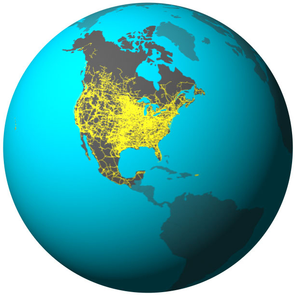 Globe illustration highlights Canada, the United States, and Mexico with a conceptual linked power grid connecting the three countries.
