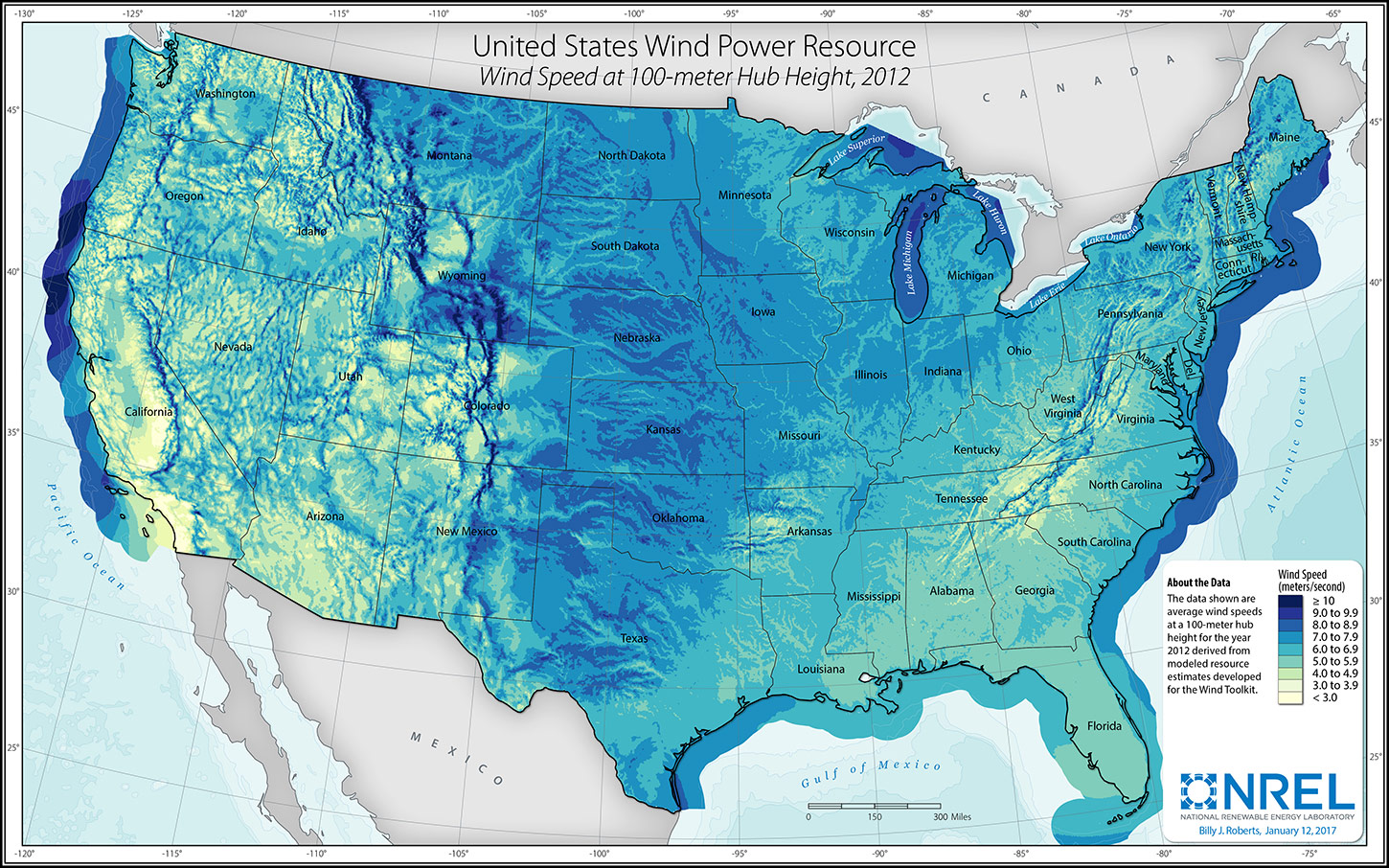 Graphic of a map of wind power resource in the United States, depicting average wind speeds at a 100-meter hub height for the year 2012 derived from modeled resource estimates.