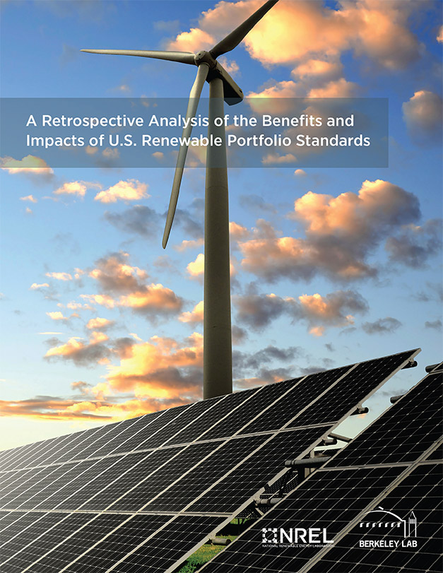 Image of a report cover for the Retrospective Analysis of the Benefits and Impacts of U.S. Renewable Portfolio Standards.