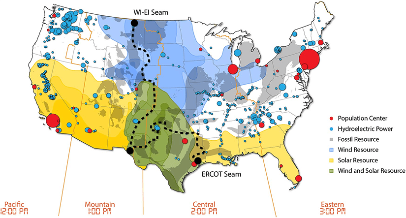 Map of the continental United States that reflects major power system regions and the strong solar resource across the South and Southwest and strong wind resources primarily in Texas and the Great Plains states.