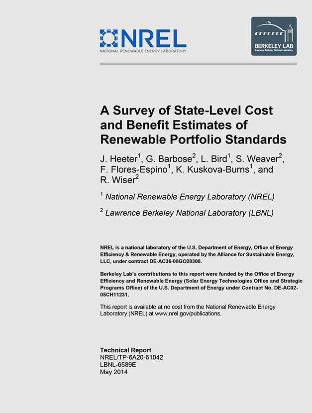 Image of a report cover for A Survey of State-Level Cost and Benefit Estimates of Renewable Portfolio Standards.