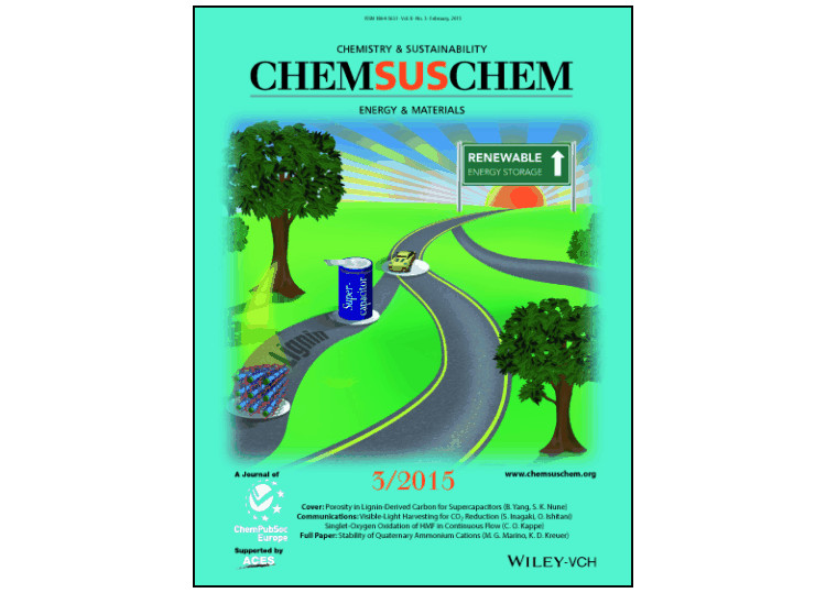 "Image of a green cover for a journal called ""Chemistry and Sustainability""""CHEMSUSCHEM"" entitled ""Energy and Materials; 3/2015"" and an image of car on a road and a sign that says ""Renewable Energy Storage."""