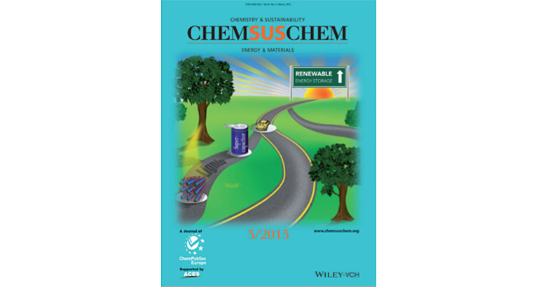 Image of the cover of the March 2015 issue of the Chemistry and Sustainability journal, showing an illustration of a car driving down a country road into the sunset that leads to Renewable Energy Storage.