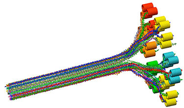 Illustration showing multi-colored strands going parallel to each other from right to left, where the branch off and connect into multi-colored short tubes of red, yellow, orange, turquoise, and green.