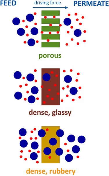 "Illustration of small (red dots) and large (blue dots) molecules passing through a membrane or being rejected from passing through. The top image is labeled ""porous"" and the membrane is represented by a green rectangle with white lines through it. The middle image is labeled ""dense, glassy"" and the membrane is represented by a dark brown rectangle. The top image is labeled ""dense, rubbery"" and the membrane is represented by a tan rectangle. The top of the image is labeled ""Feed,"" ""Driving Force"" with a blue arrow pointing right), and ""Permeate."""