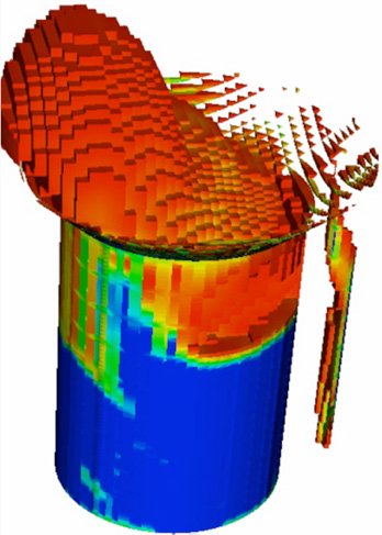 Illustration of a reactor simulation of a bubbling catalyst reactor: a three-dimensional cylinder displaying infrared temperatures in blue, green, yellow, orange, and red, with red and orange block-like structures forming a circle and coming out of the top of the cylinder.