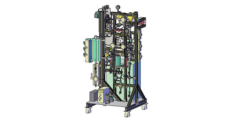 Multi-color line drawing of a bench-scale fuel synthesis reactor showing a series of interconnected tubes, pipes, valves, and wires, all standing on a platform.