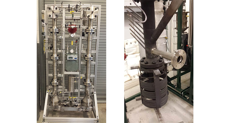 Side-by-side photos of the NREL Research Gasifier. On the left is a full view showing a metal stand with a series of metal pipes, tubes, and coils. On the right is a close-up of the gasifier showing a base of black metal coils with a vertical metal pipe inside and sticking out the top with a shiny metal pipe and other pipes and tubes going out from the vertical pipe.