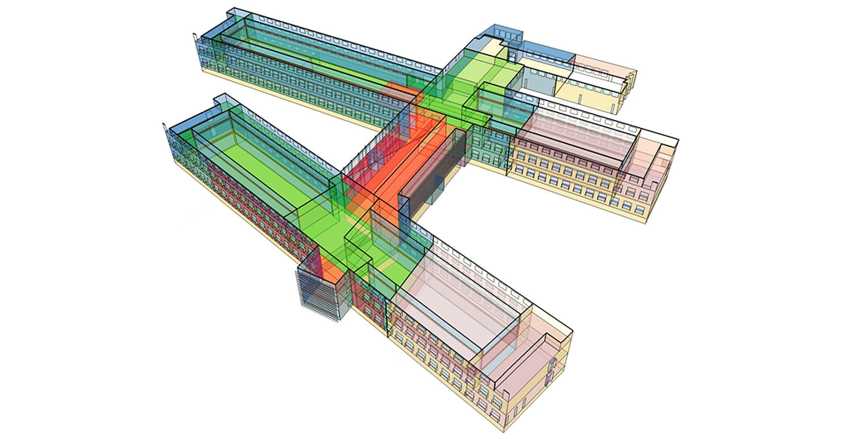 A 3-d model of a large, multi-wing commercial building.