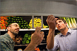 Photo of NREL engineers Michael Deru and Ian Doebber examining night curtains in the produce department of a Whole Foods Market.
