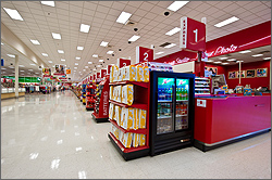 Photo of the checkout area of the Thornton, Colorado, SuperTarget.
