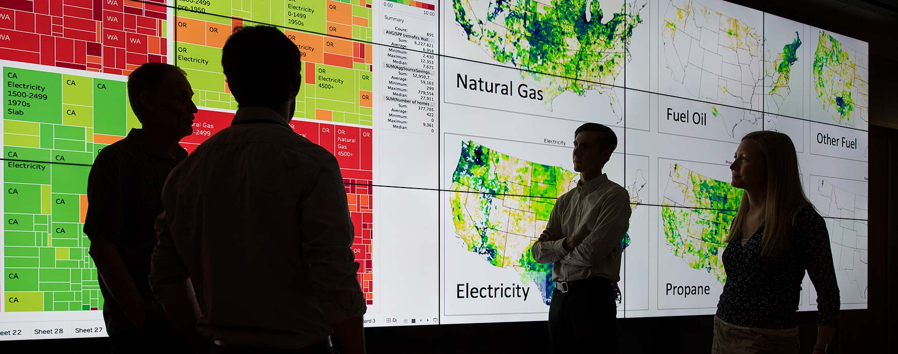 Photo of a four researchers in front of a wall of screens, showing different maps and charts.