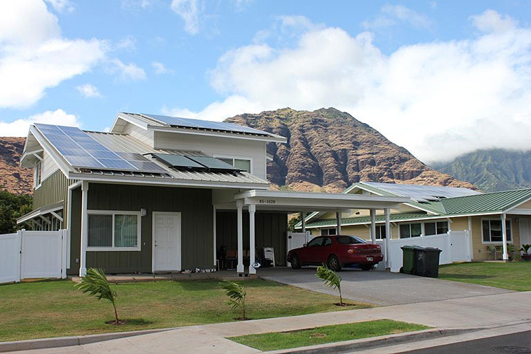 Photo of a home with rooftop photovoltaics in Hawaii