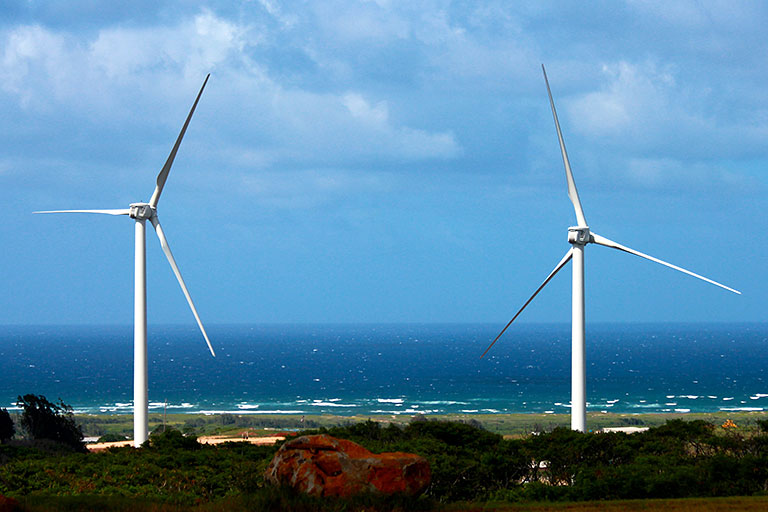 Two wind turbines next to the beach in Hawaii.