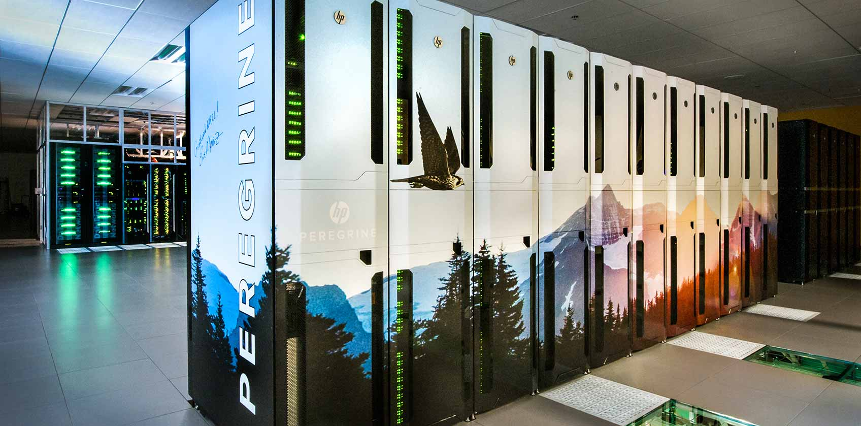 Photo of the Peregrine high-performance computing system in the Energy Systems Integration Facility data center