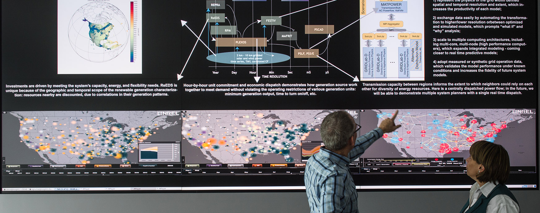 Photo of researchers inspecting maps on a large display.