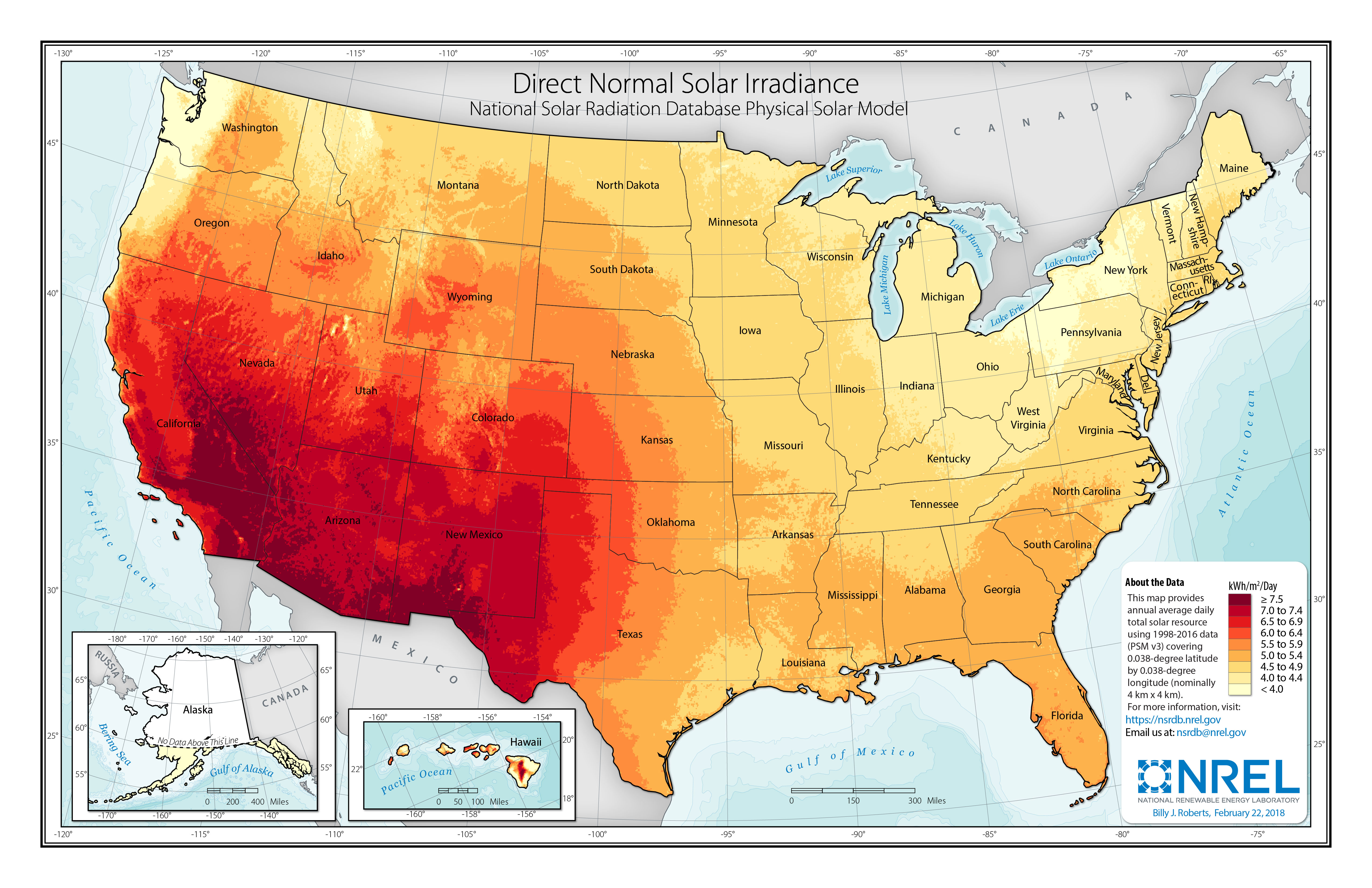Direct Normal Solar Irradiance Map from NREL