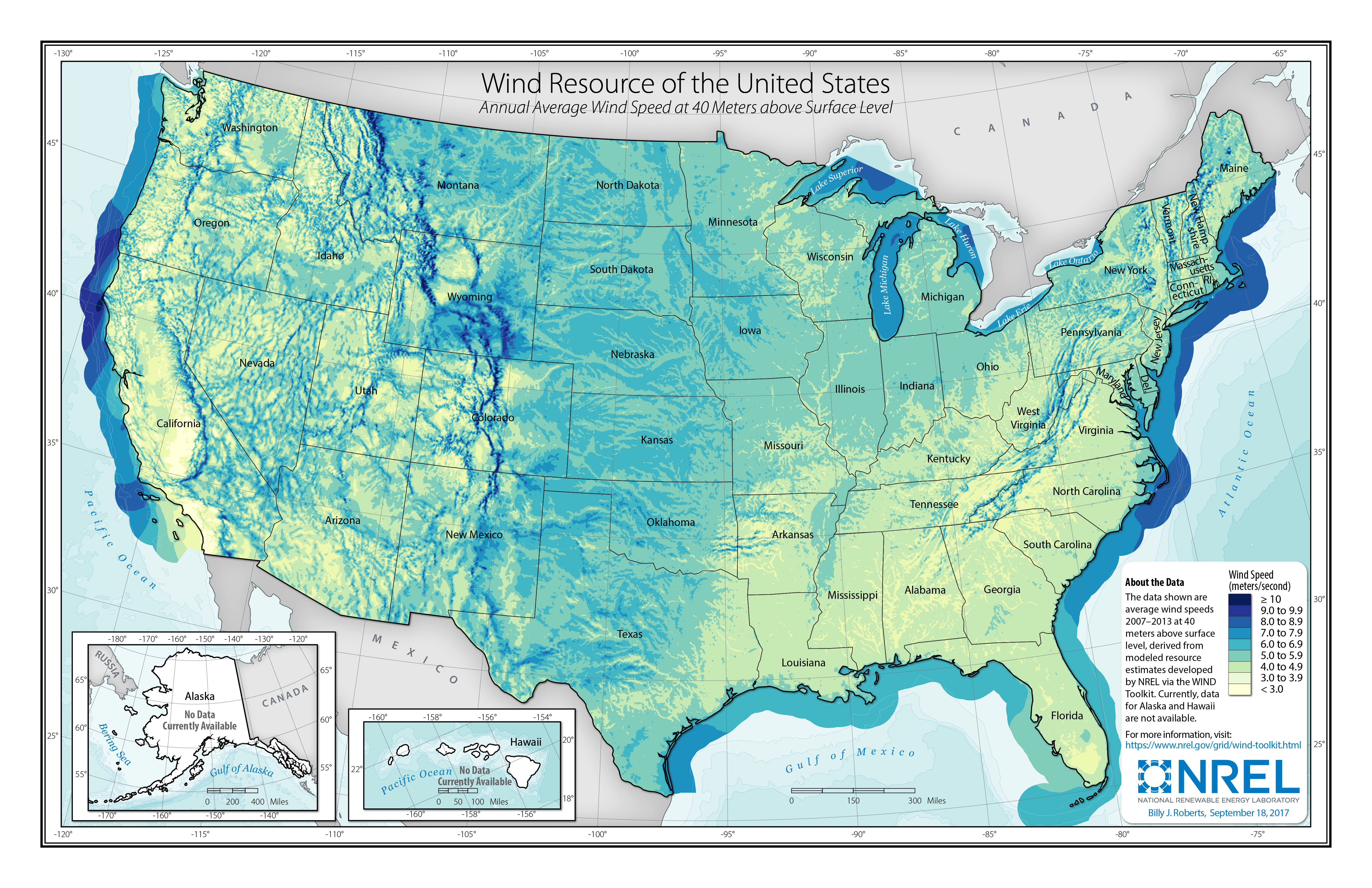 Us Wind Resource Map Wind Resource Data, Tools, and Maps | Geospatial Data Science | NREL