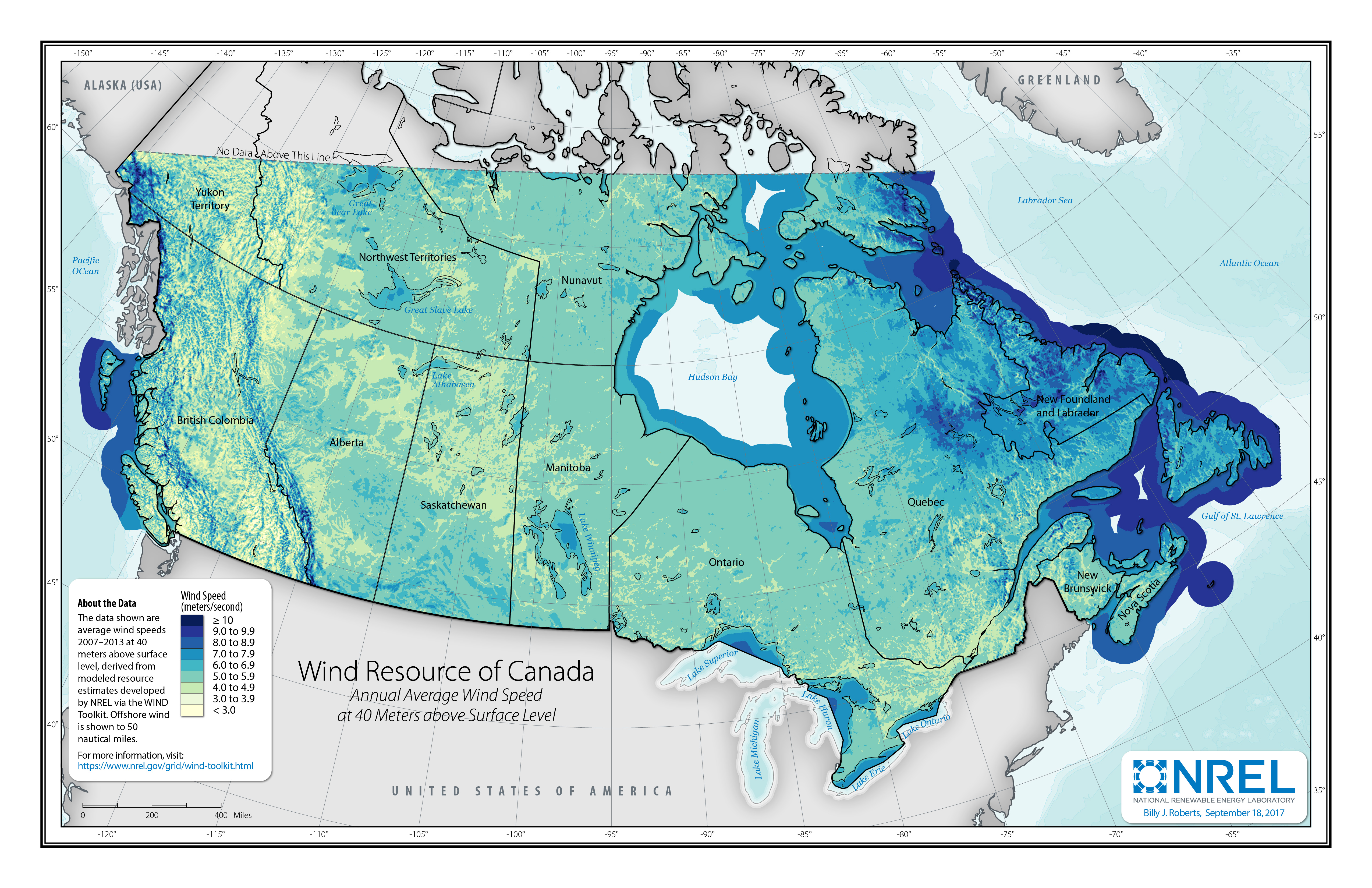 Wind Speed Map Canada Wind Resource Data, Tools, and Maps | Geospatial Data Science | NREL
