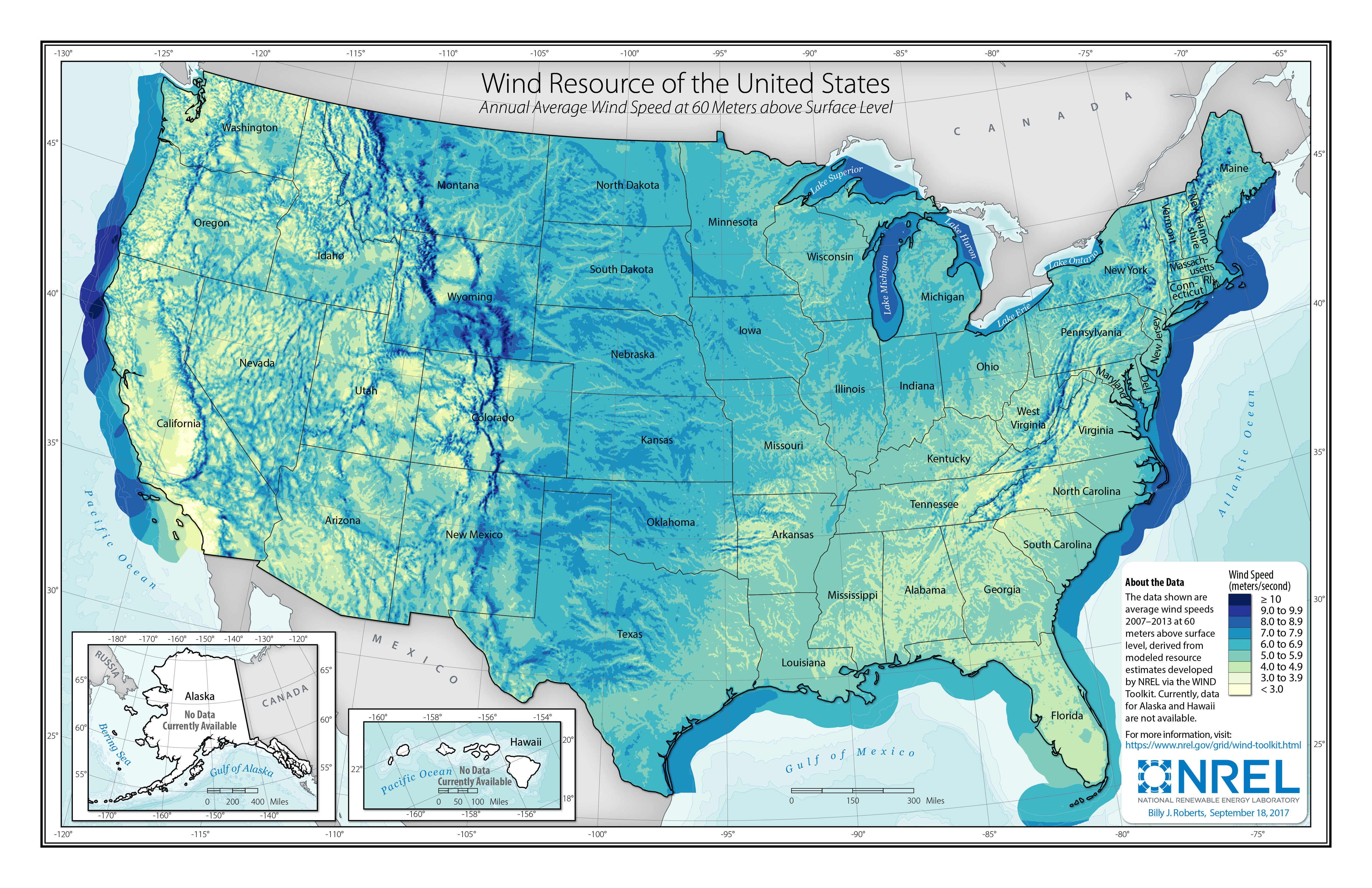 Map Of Average Wind Speeds In The Us Wind Resource Data, Tools, and Maps | Geospatial Data Science | NREL