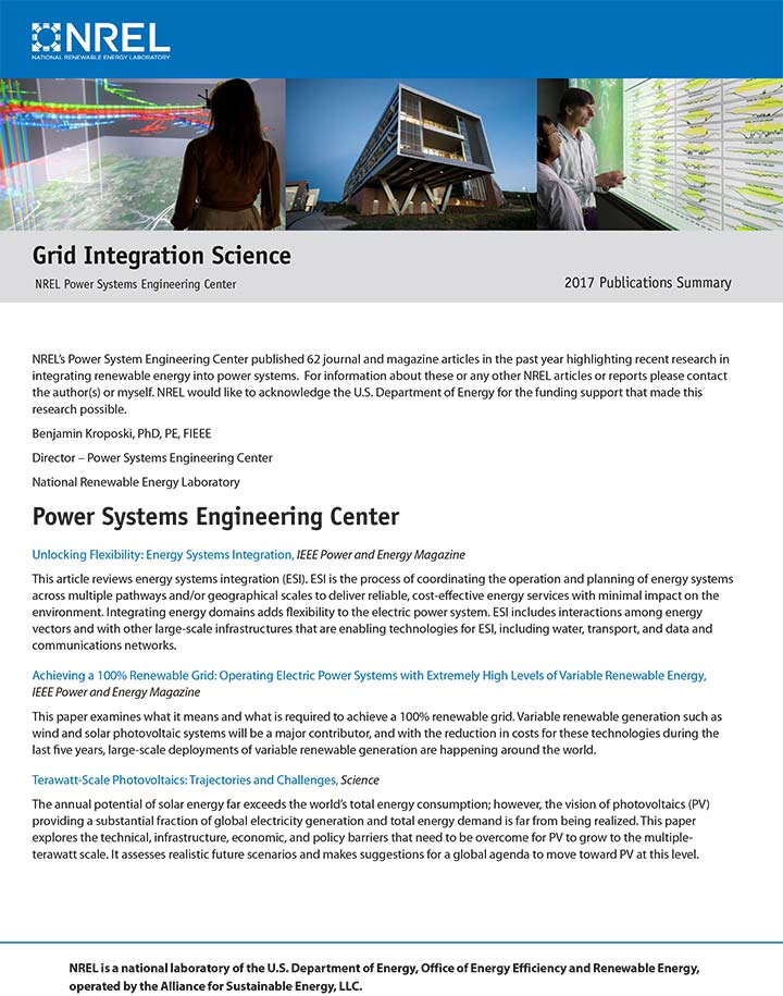 Cover of the Power Systems Engineering Publications Report