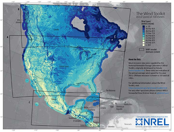 Map of North America wind resource with processed weather modeling data domains.