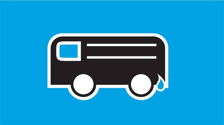 Icon of a bus with a water droplet by the fuel tank. The word Buses is below the icon.