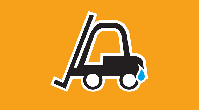 Icon of a forklift with a water droplet by the fuel tank. The word Forklifts is below the icon.