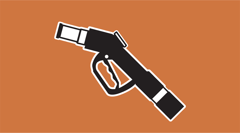 Icon of a hydrogen fueling pump nozzle. The word Infrastructure is below the icon.