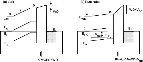 Left: Scanning kelvin probe microscopy is widely used to measure surface work functions and electrostatic potentials on nanoscale circuits, devices, and materials; this schematic shows the measurement capabilities of the technique when a device sample is in the dark. Right: This schematic shows the measurement capabilities of the scanning kelvin probe microscopy technique when a device sample is illuminated.