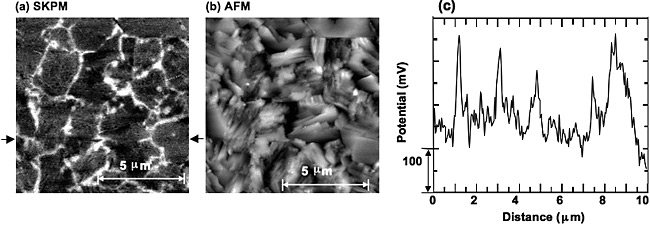 Left: Scanning kelvin probe microscopy image showing high-contrast areas of light and dark that look like platelets and represent measured electrical potential in a sample copper indium gallium selenide thin-film device. Center: Atomic force microscopy image showing more distinct and jagged light and gray areas at high resolution that represent the measured electrical potential in the sample copper indium gallium selenide thin-film device shown in the image at left. Right: Graph showing jagged line profile of the sample copper indium gallium selenide thin-film device shown at far left in scanning kelvin probe microscopy image.