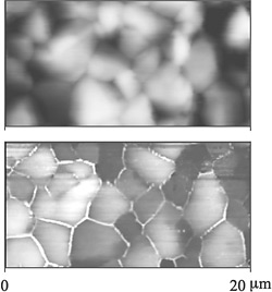 Top: High-resolution image of a sample semiconductor device; the image shows white puff-like clusters on a dark background and was obtained using atomic force microscopy. Bottom: High-resolution image of the same semiconductor device sample as above, but obtained using conductive atomic force microscopy, in which a voltage is applied between a conductive tip and the sample surface to measure electric current; the image shows distinct gray areas of large grain clusters outlined in white.