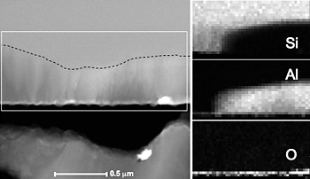 Five microphotos taken with a scanning transmission electron microscopy in energy dispersive X-ray spectroscopy mode show the surfaces of chemicals on the back contact in a Si solar cell.