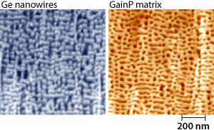 Pair of high-resolution field-emission SEM images of germanium nanowires (left) embedded in a gallium indium phosphide matrix (right).
