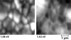 Left image: Gray, black, and white image showing microscopic clusters of transition areas identified on the emission spectrum of a copper indium gallium diselenide thin film sample. Right image: Microscopic black and white clusters, less distinct than in the image at left, of transitions identified on the emission spectrum of a copper indium gallium diselenide thin film sample.