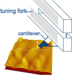 Schematic and graphical sample image of three-dimensional yellow and red clusters representing the tuning-fork sensor in atomic force microscopy.