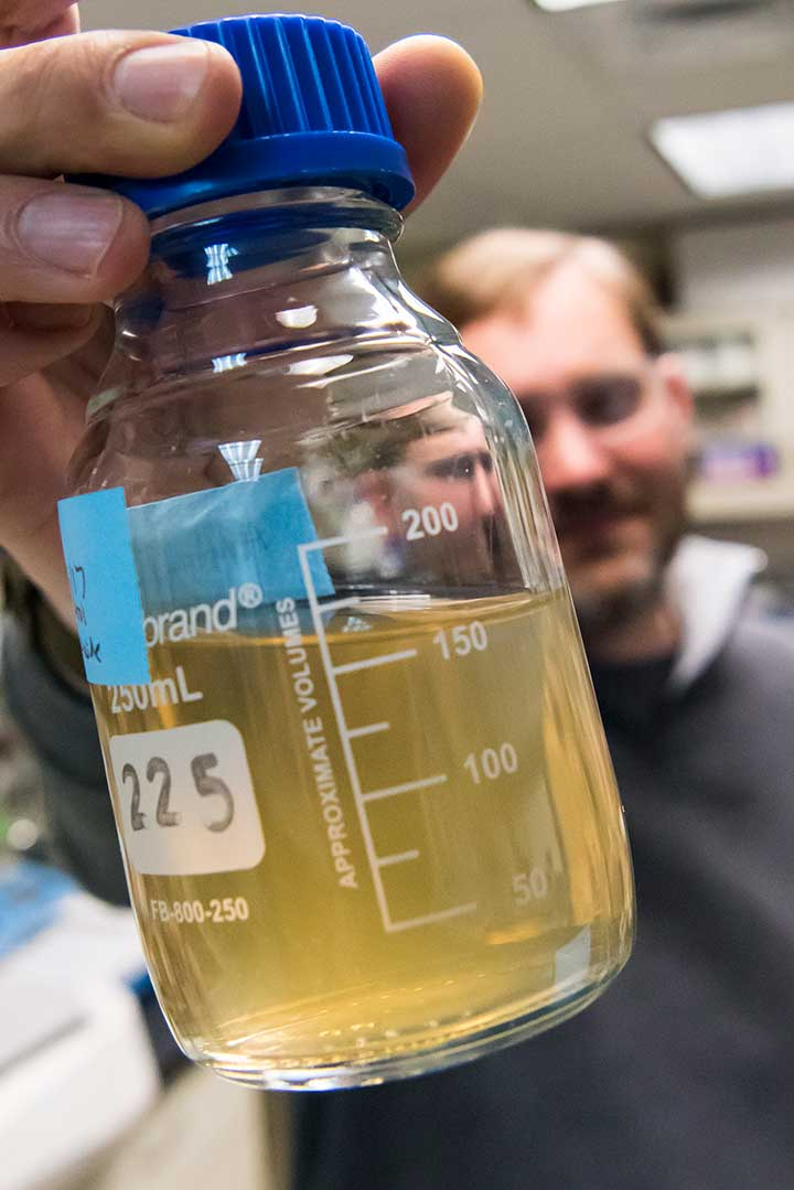 A scientist holds a glass container filled with a murky-looking liquid.