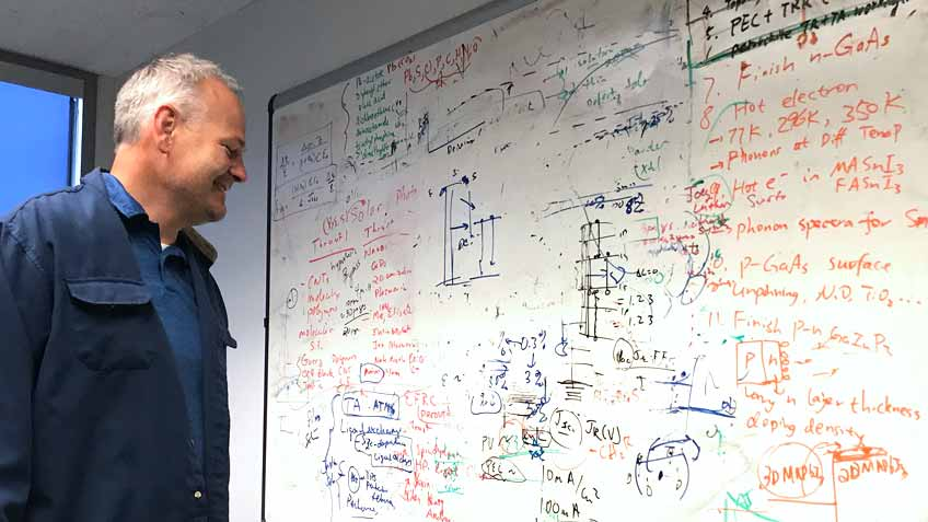 Photo of a man looking at a whiteboard covered in hand-written text and diagrams.