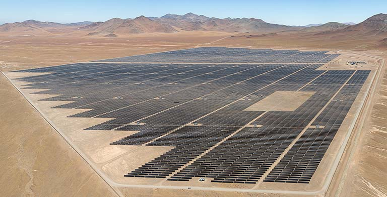 A solar power plant in a remote, high-altitude desert.