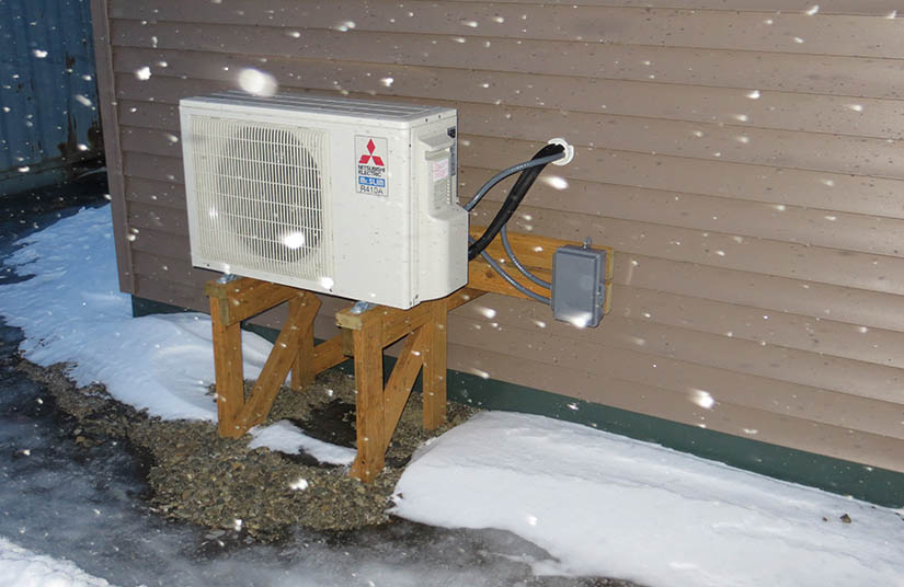Photo of the outdoor portion of an air-source heat pump