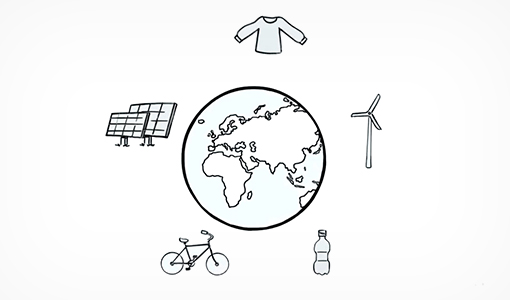 Black and white illustration of planet Earth surrounded by items including a plastic bottle, wind turbine, bicycle, sweater, and solar panels