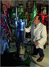 Photo of a researcher in the Alternative Fuels User Facility.