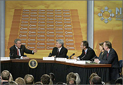 Photo of President George W. Bush in discussion with energy experts.